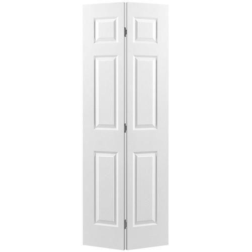 Masonite Bifold And Closet Doors Primed 6 Panel Molded Composite Bifold Door Hardware Included Commo Bifold Door Hardware Bifold Closet Doors Panel Moulding