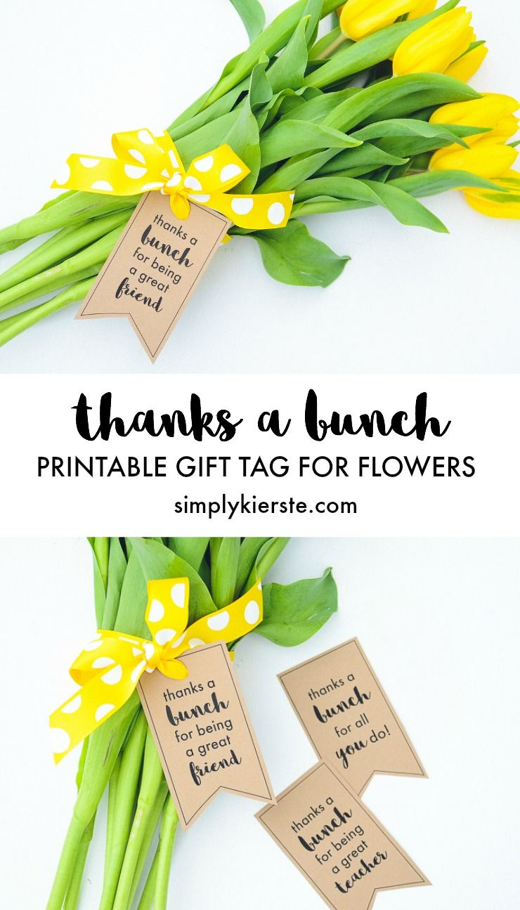 Thanks a bunch printable gift tags for flowers Thanks for all you do gifts
