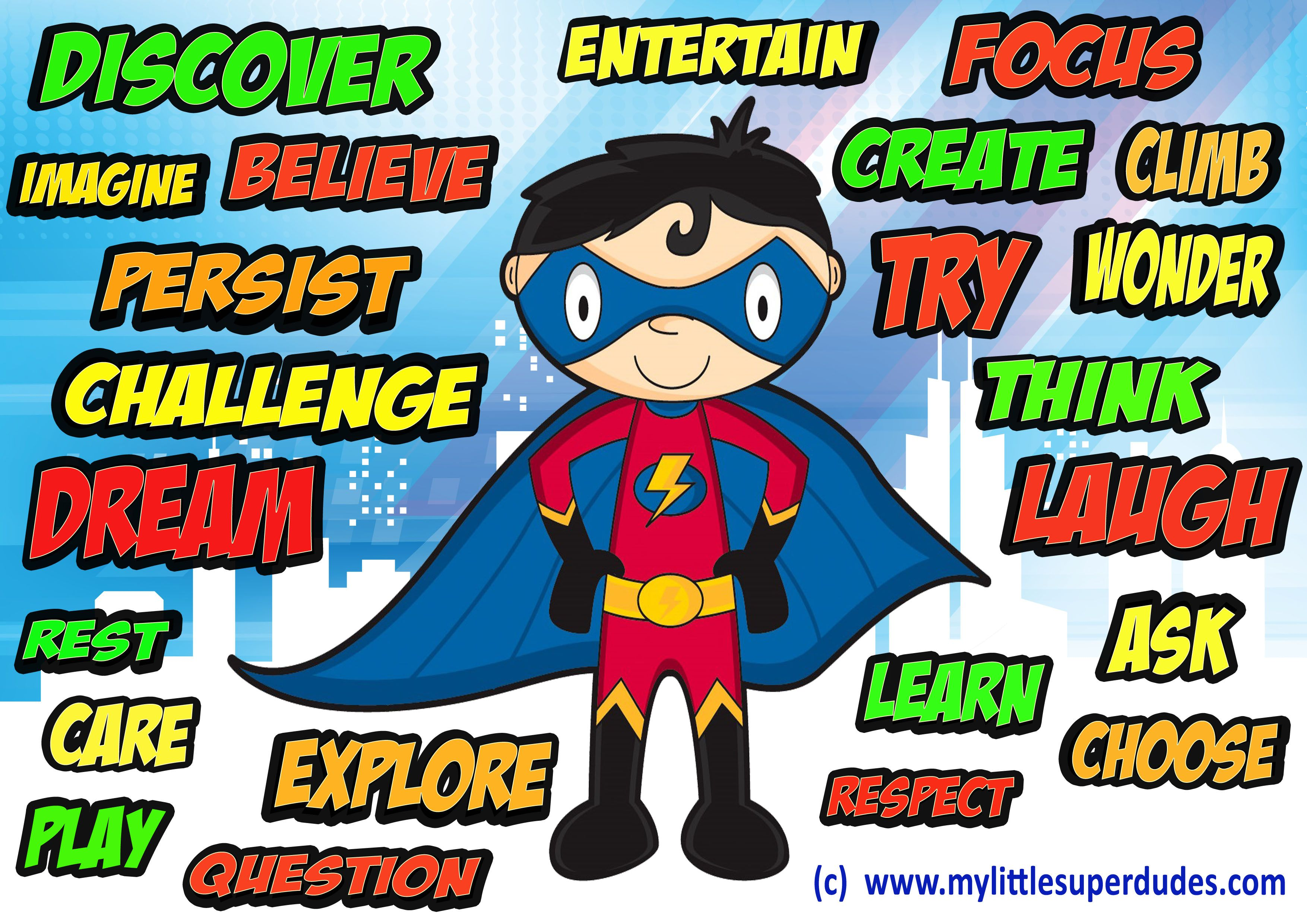 Kids positive affirmations poster bright colourful - Poster super heros ...