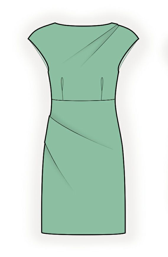 Pencil Dress With Pleats - Sewing Pattern #4362. Made-to-measure ...