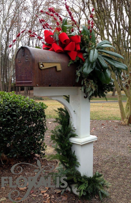 mailbox red decor christmas mailbox decoration ideas natural christmas mailbox decor