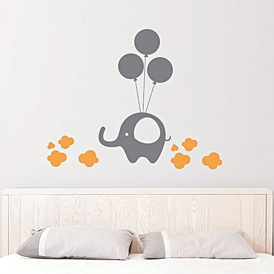 Elephant On Balloon Wall Decal by Campfire Graphics
