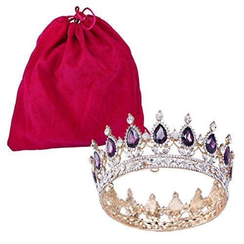FUMUD Purple Clear Wedding Bridal Crystal Tiara Crowns Pr