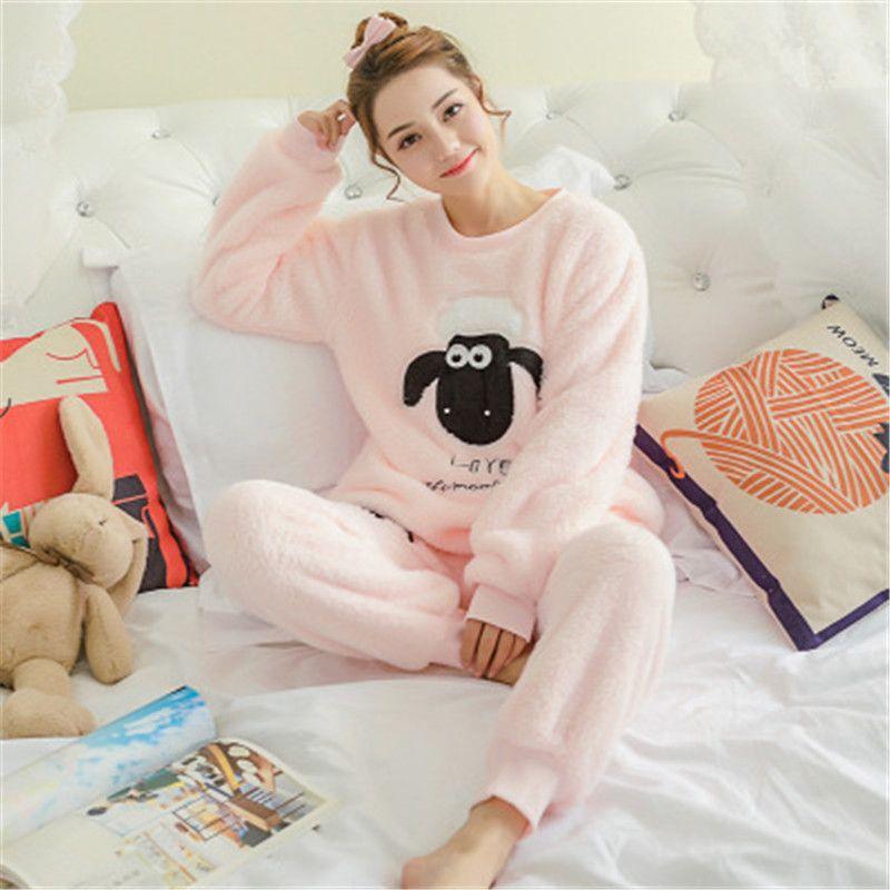 Pajamas set Sleepwear Thicken Flannel Soft Warm Outfits Winter Lounge Comfort