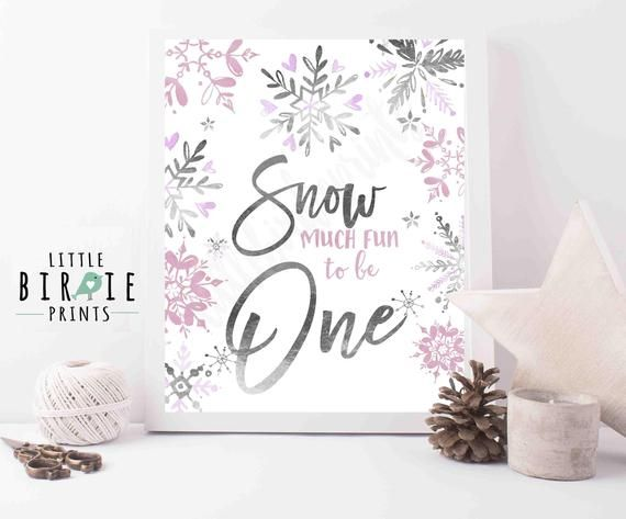 Items similar to Silver pink sign snow much fun to be one - Watercolor and silver foil sign snow much fun to be one Winter Onederland birthday party sign on Etsy #chilibar