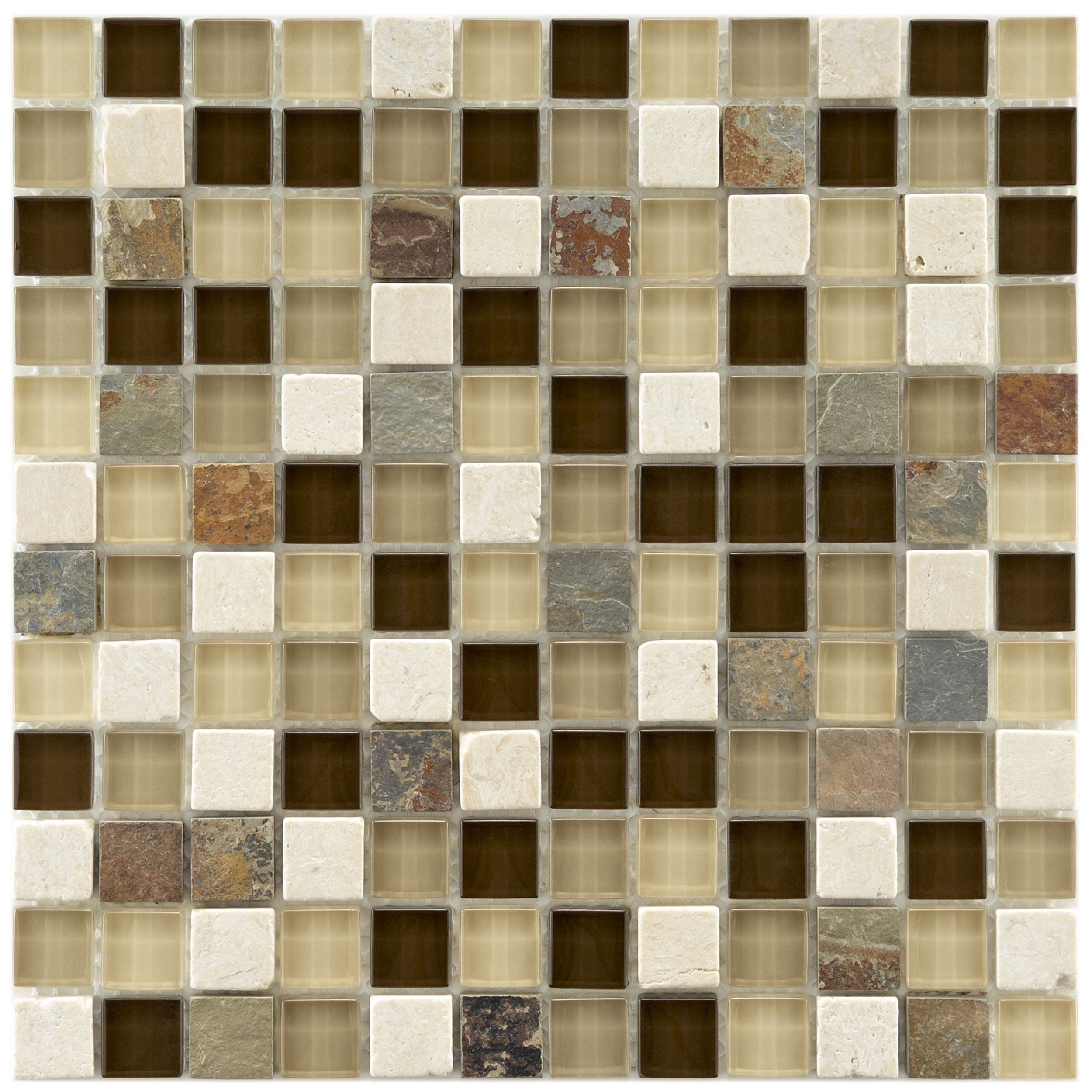 Somertile Reflections Square 1 Inch Nau Stone And Gl Mosaic Tiles Pack Of 10 By