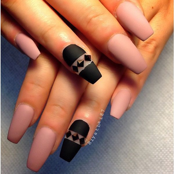 Ballerina Pink And Black Diamond Accent Matte Coffin Nails ❤ liked ...