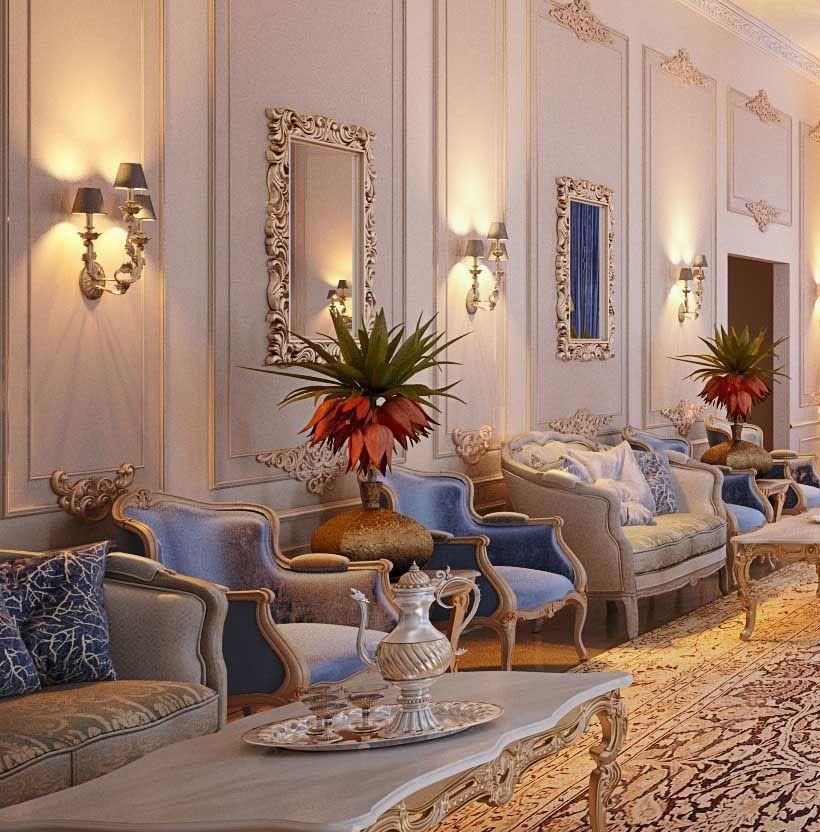 Luxury Mansion Interior Qatar On Behance: Royal Blue Majlis, Doha, Qatar On Behance