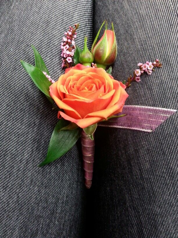 Orange And Pink Boutonniere For Prom And Wedding Boutonniere