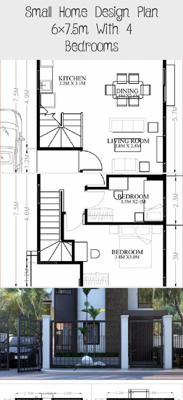 Small Home Design Plan 6x7 5m With 4 Bedrooms Home Design With Plan Smallhouseplansunder1000sqft Smallhouse In 2020 Home Design Plan Small House Design Small House