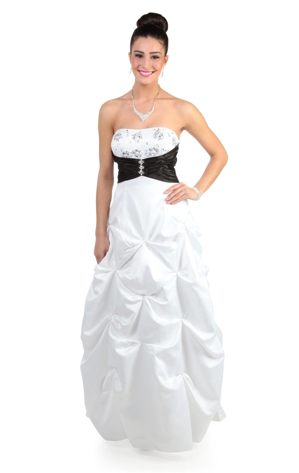 Deb shops black and white beaded strapless prom dress with pick up