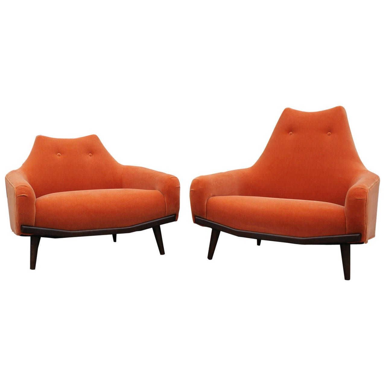 Plush pair of orange mohair lounge chairs from a unique collection of antique and modern chairs at https www 1stdibs com furniture seating chairs