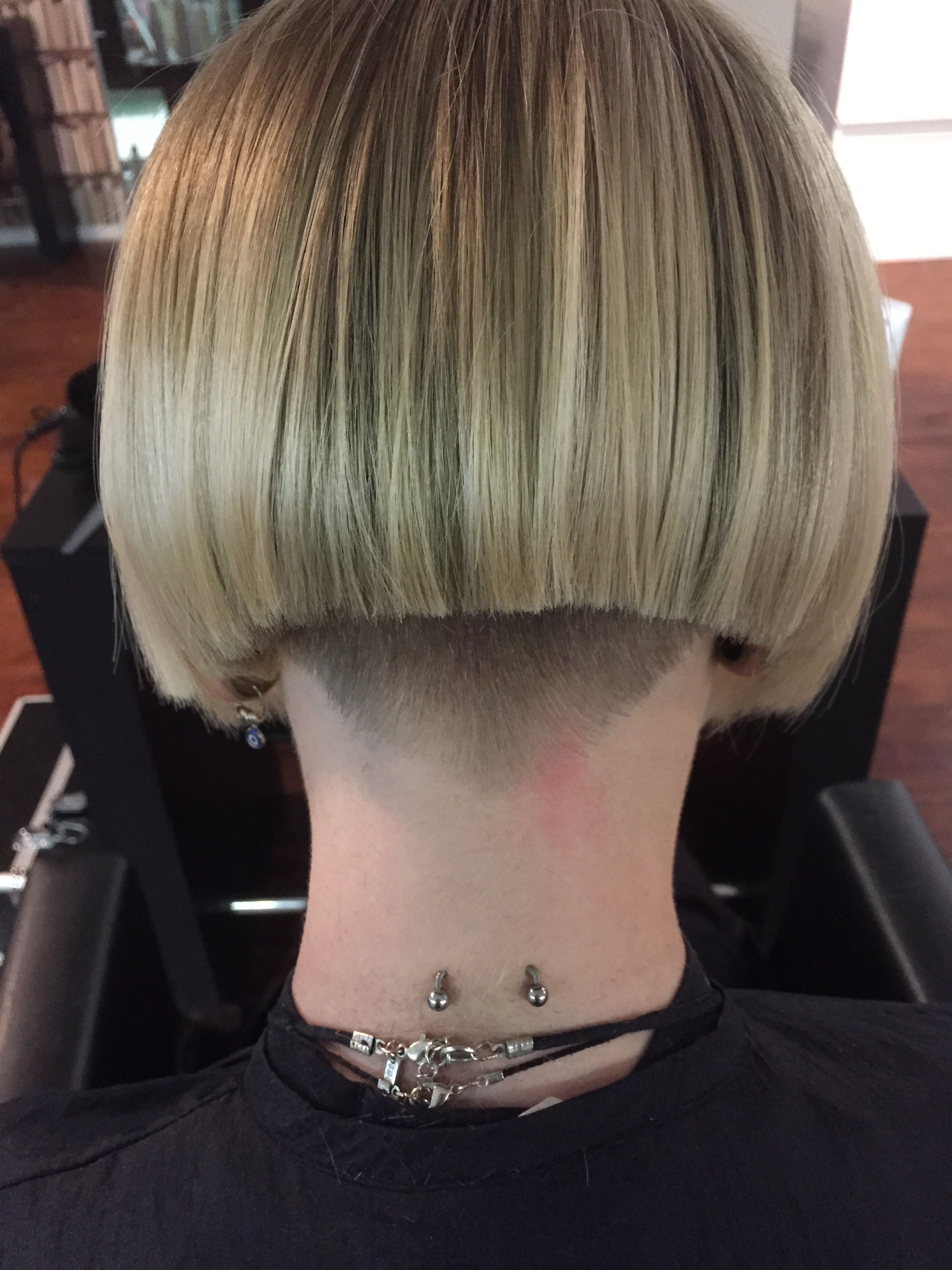 Beautiful undercut; shaved and pierced nape..   Hair ...