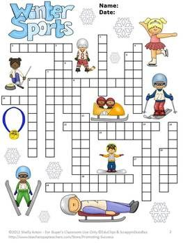 winter sports theme activity vocabulary crossword puzzle early finishers tpt misc lessons. Black Bedroom Furniture Sets. Home Design Ideas