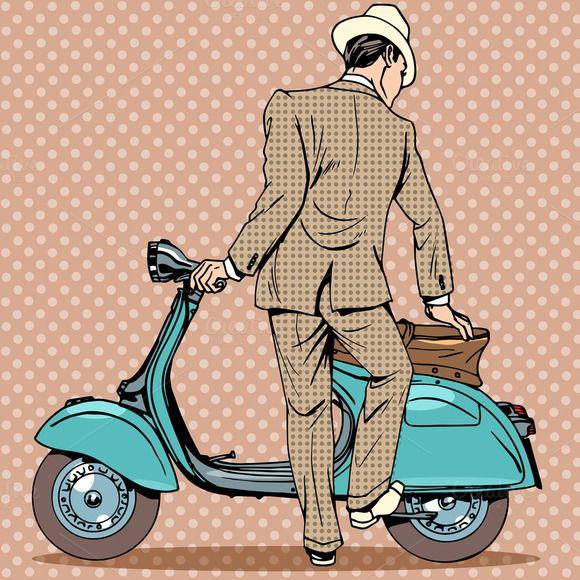The Man Gets A Scooter Pop Art Comic Vespa Illustration Retro Background