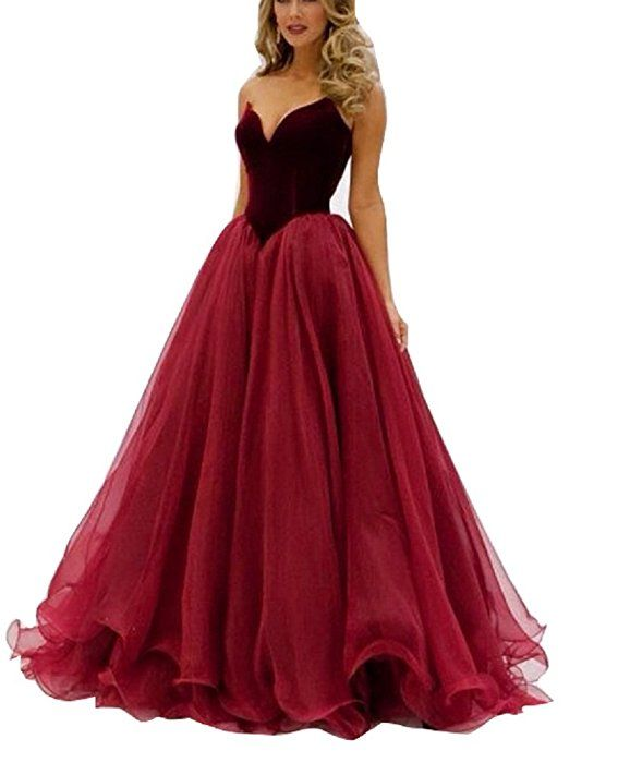 GeSen Simple Prom Dresses 2016 Tulle Plus Size Red Wine Evening Gown ...