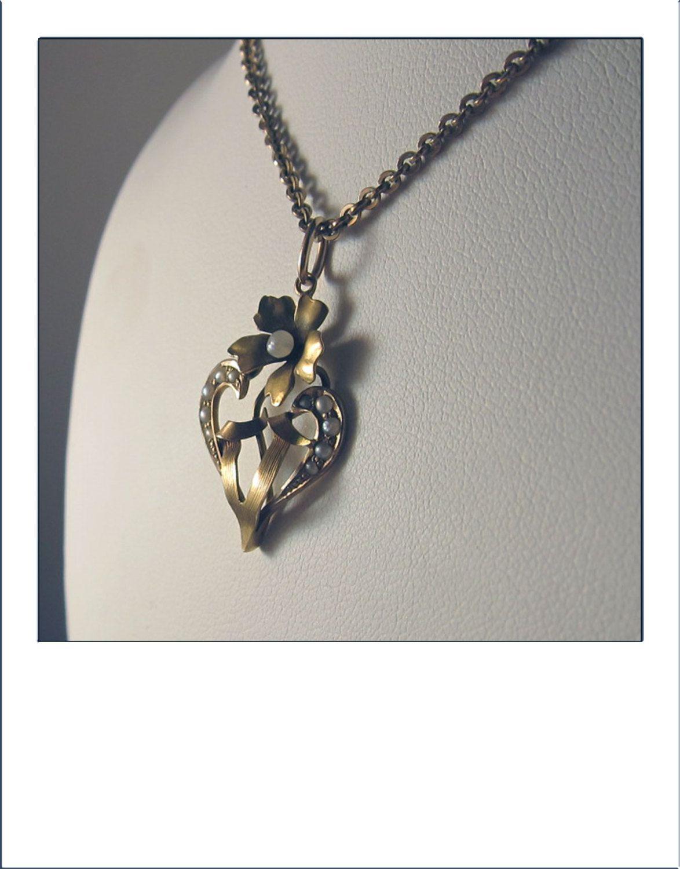 Antique Art Nouveau 10k Seed Pearl Lavaliere Floral Pendant by BellaJewelryShop on Etsy