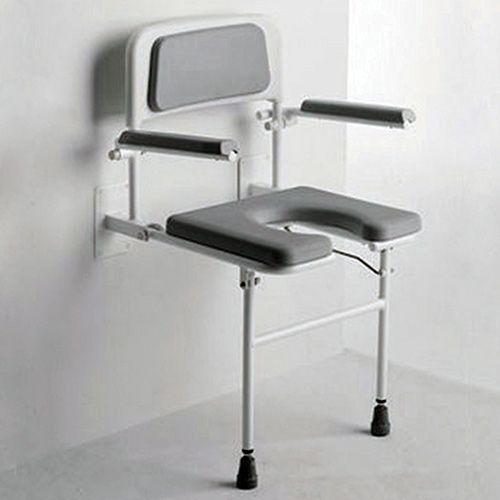 Attractive Padded Wall Mounted Shower Seat With Arms   Horseshoe