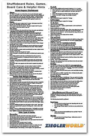 Amazon.com : Table Shuffleboard Rules U0026 Regulation Poster : Shuffleboard  Accessories : Sports U0026