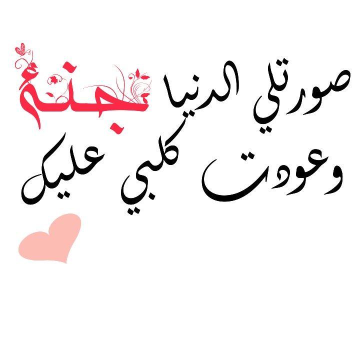 صورتلي الدنيا جنة وعودت كلبي عليك Arabic Calligraphy Art Ale