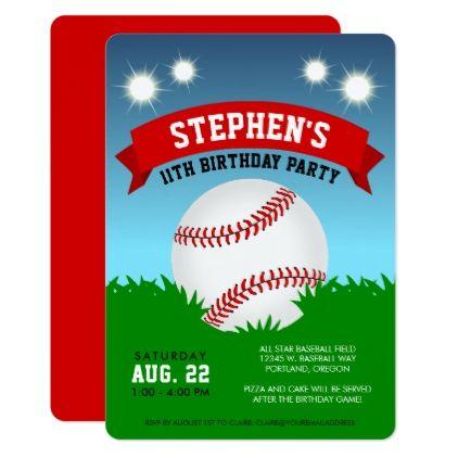 Baseball Birthday Party Card