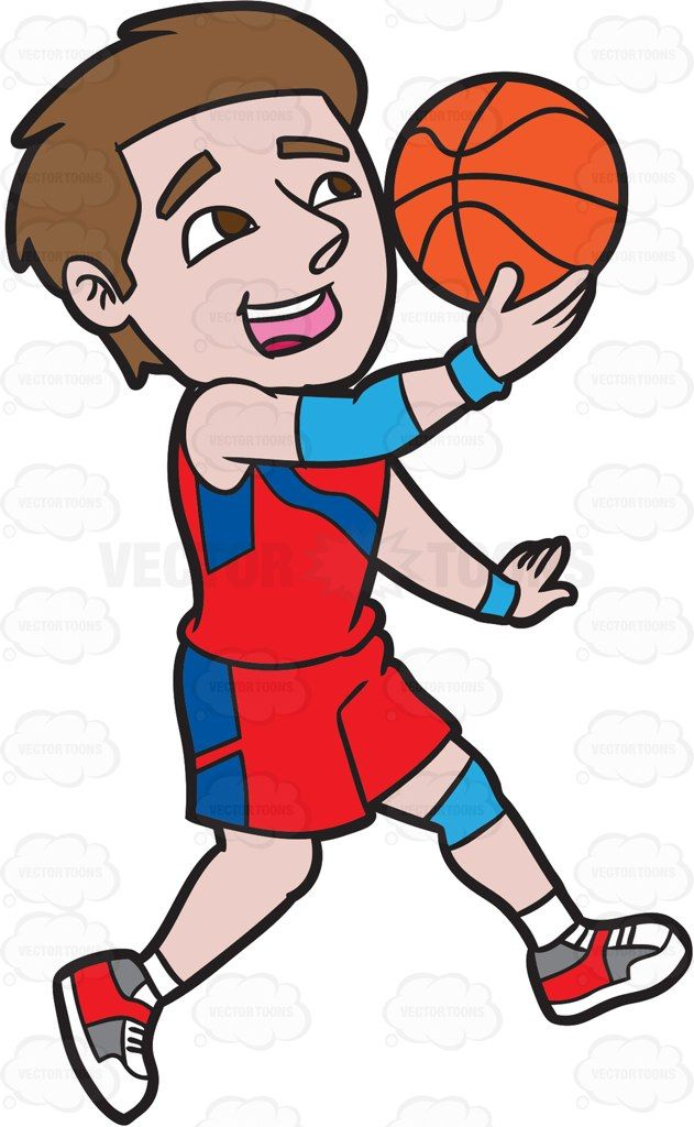 A Male Basketball Player Jumping To Do A Lay Up Shot Vector Graphics Vectortoons Com Basketball Players Cartoon People Players