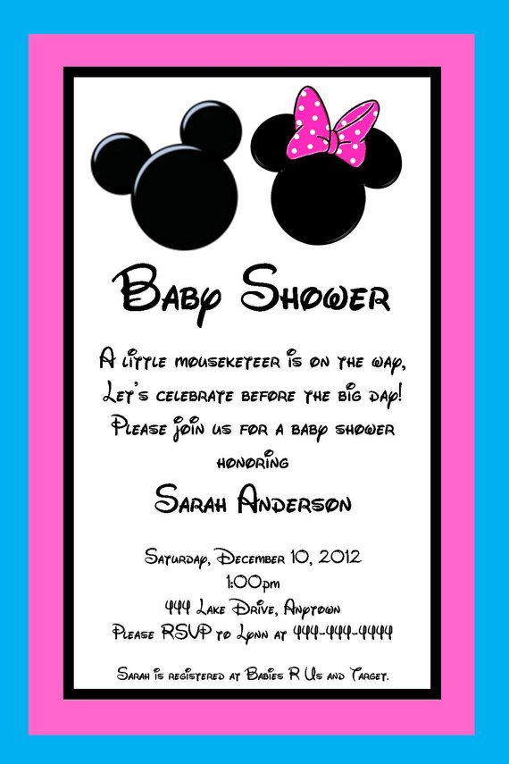 Mickey And Minnie Mouse Inspired Baby Shower Invitation Great For