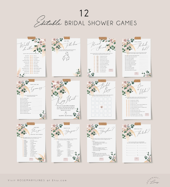Bridal Shower Games Template Boho Bridal Shower Games Bridal Shower Games Bundle Rustic Bridal Shower Games Floral Bridal Shower Games