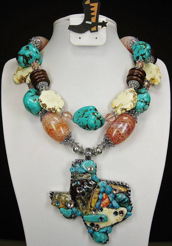 Cowgirl necklace western texas pendant chunky turquoise and agate cowgirl necklace western texas pendant chunky turquoise and agate san antonio splendor 150 mozeypictures Choice Image