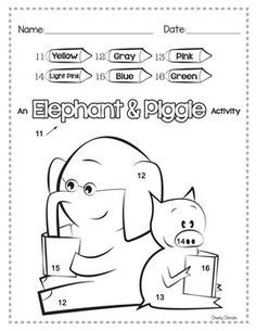Elephant and piggie activities mo willems pinterest for Piggie and gerald coloring pages