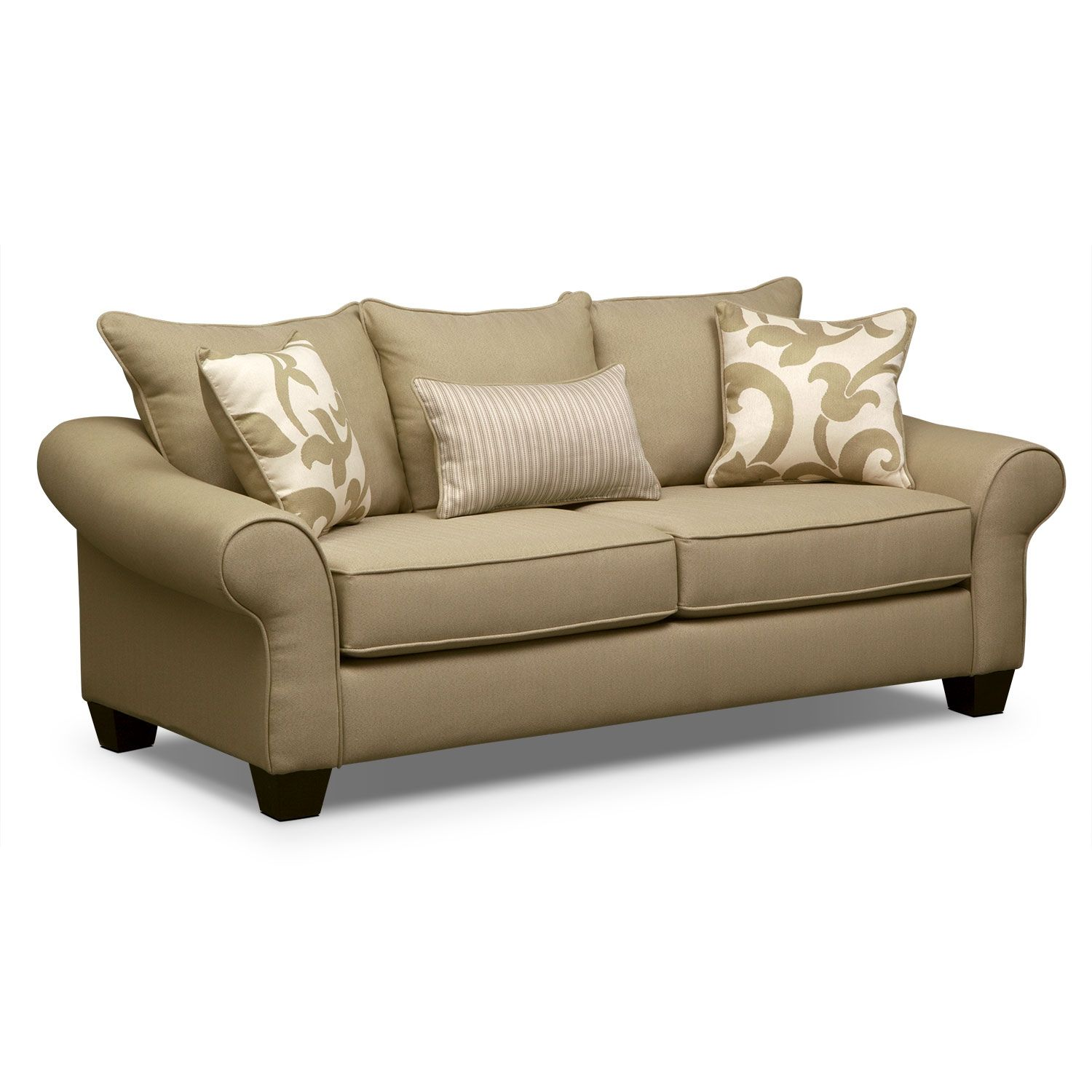 Living Room Furniture Colette Khaki Sofa Value City 399