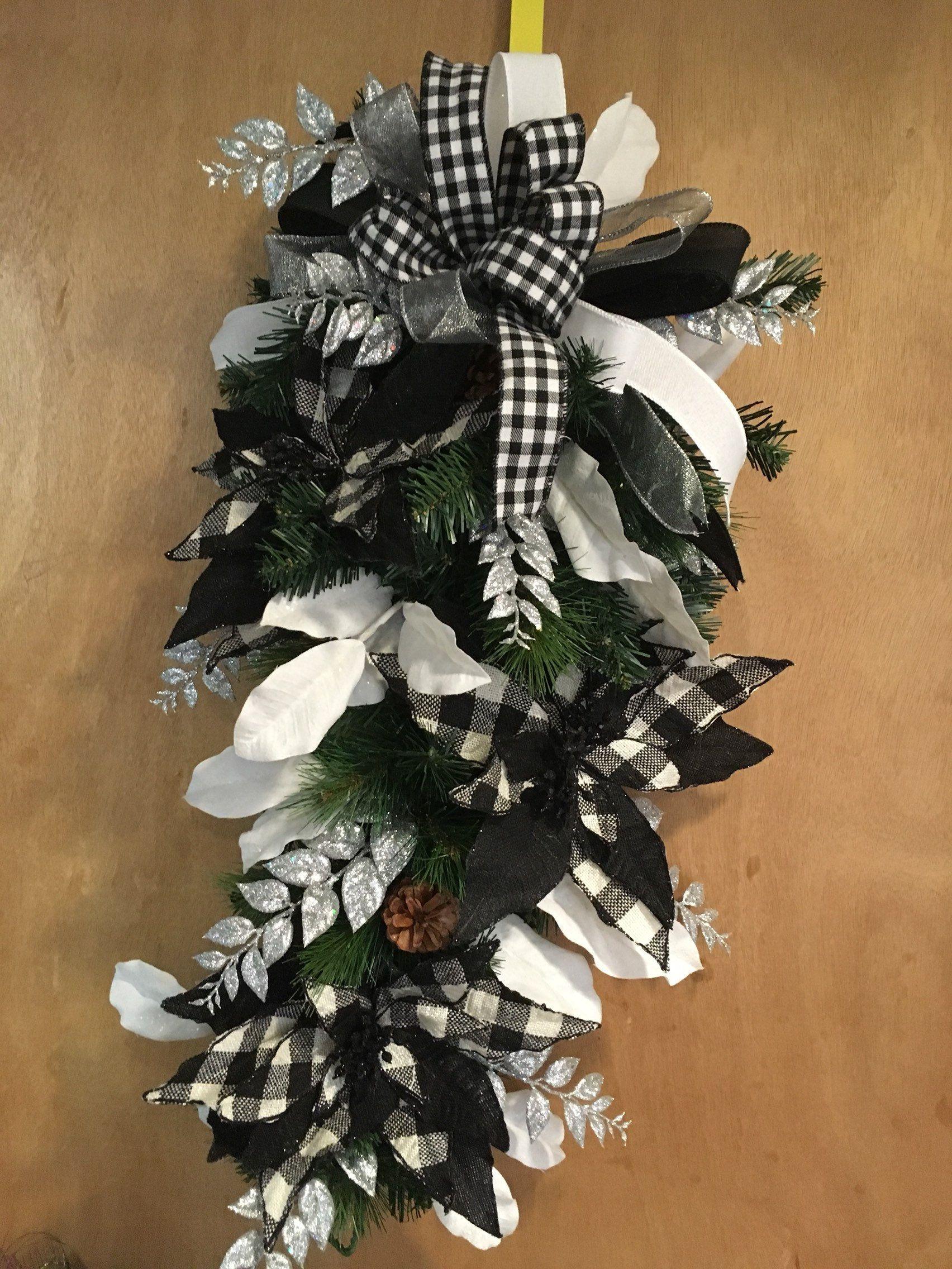 Christmas swag. Poinsettia swag. Black and White swag   Christmas swags. Christmas. Christmas wreaths