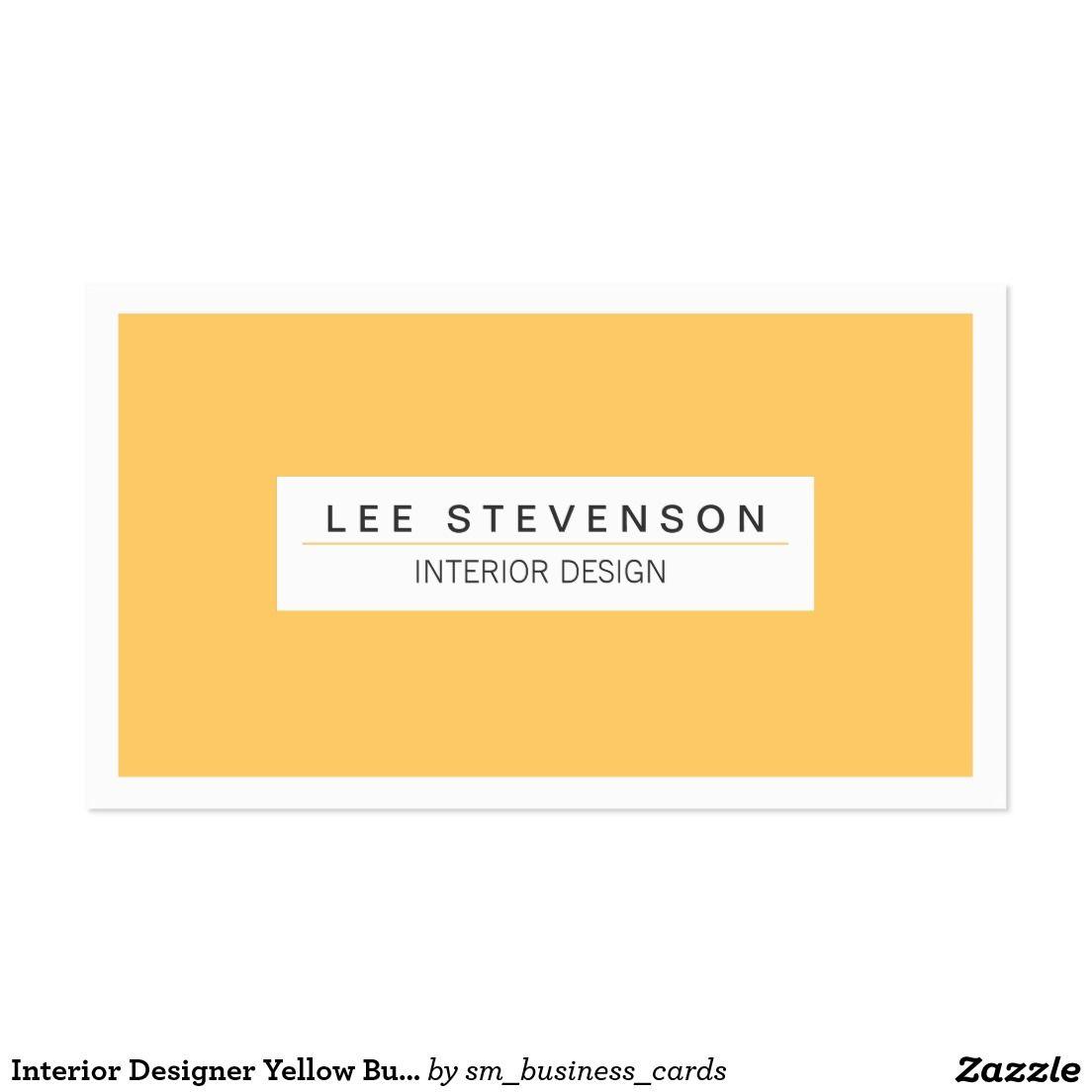 Interior Designer Yellow Business card | Business Cards: Interior ...