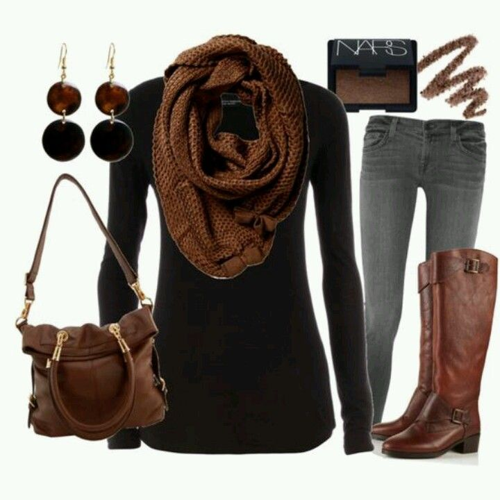 Love the Brown!  I just  bought a fabulous scarf - greens and pink.  Need to pull it together like this!
