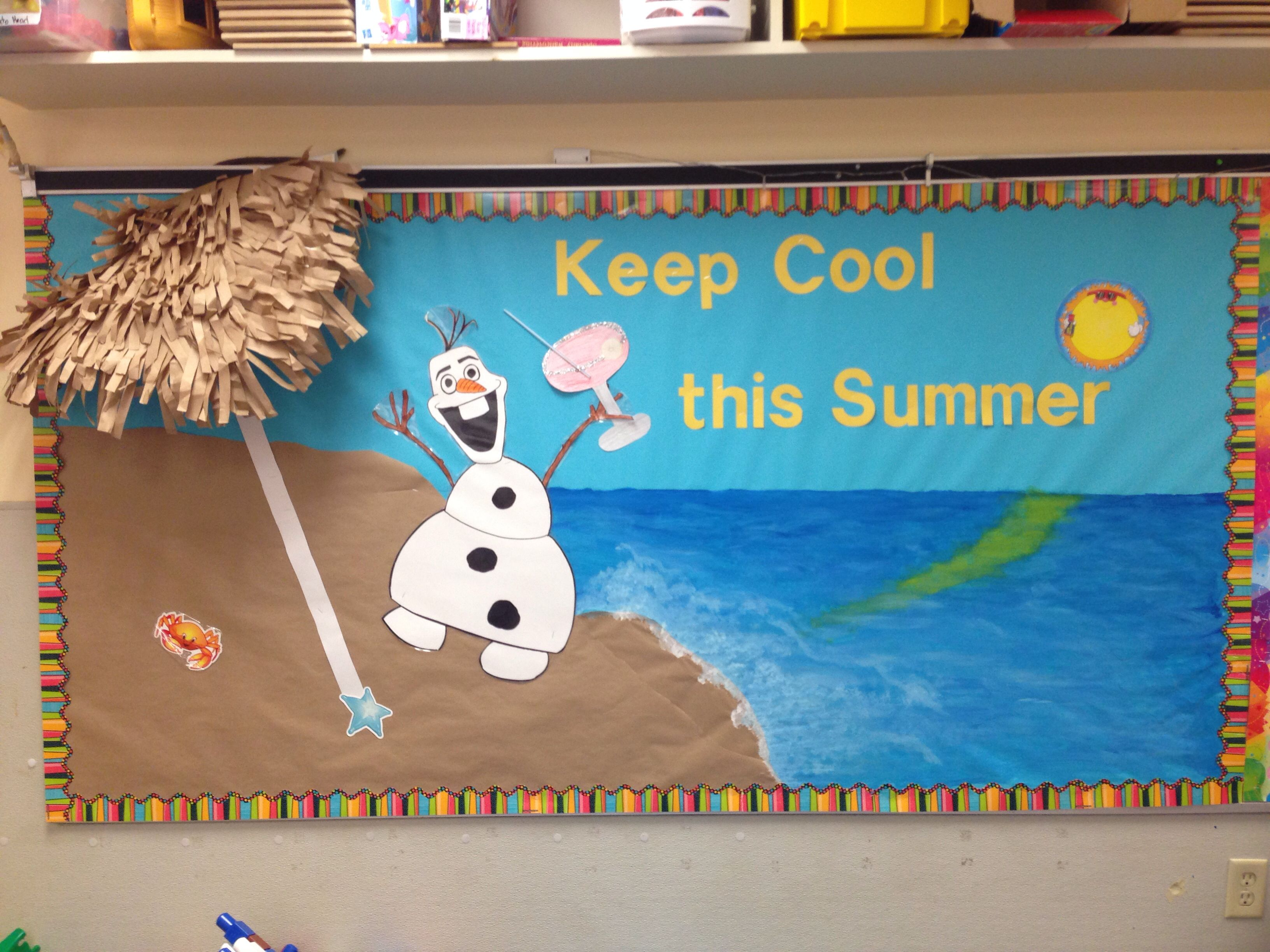 Summer Themed Classroom Decorations : Olaf bulletin board for summer ideas