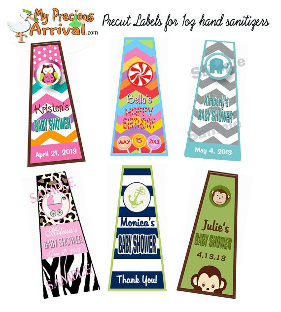 20 Precut Personalized Stickers For 1oz Hand Sanitizers Baby