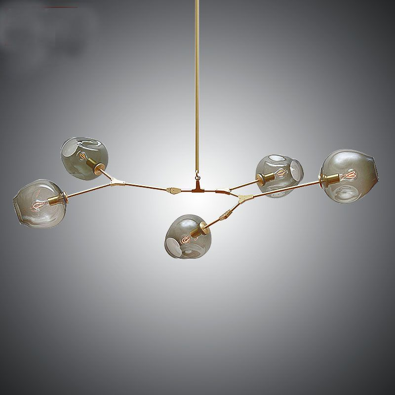 5 Head Hanging Lights Black Gold Glass Shade Retro Lindsey Adelman