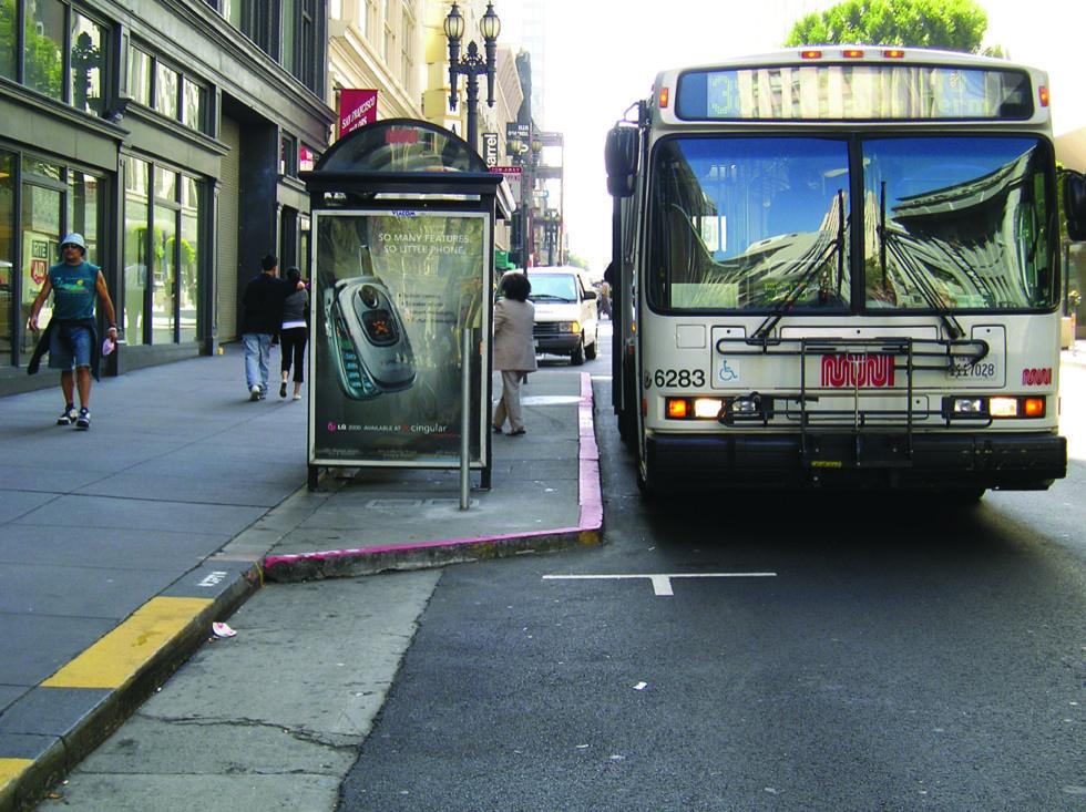 Midblock bus stop, San Francisco, California  Photo via