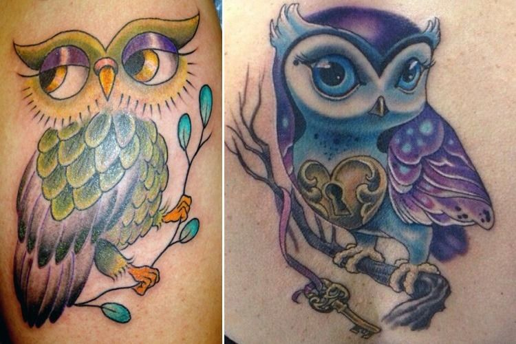 Colorful Owl Tattoos For Girls Images Amp Pictures Becuo Owl Tattoo Small Owl Tattoo Design Owl Tattoo