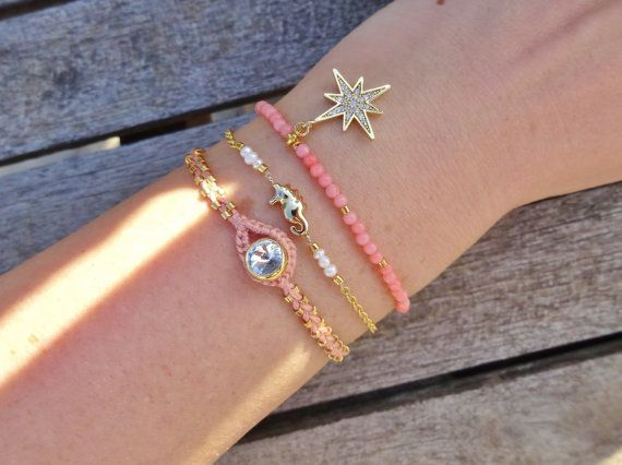Coral Beaded Sparkling Star Bracelet by cocolocca on Etsy