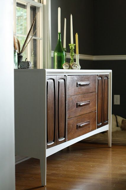 Primitive & Proper: Two Toned Midcentury Modern Sideboard and Dining Room Progress