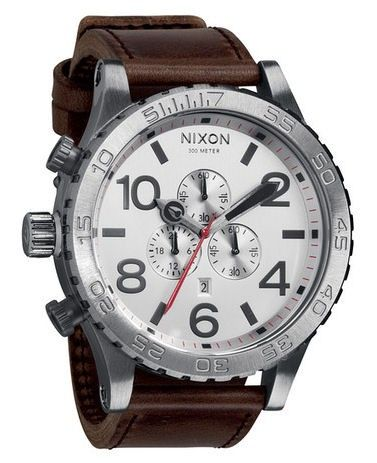 cfc95978a54 Nixon 51-30 chrono leather band in silver and brown - joy