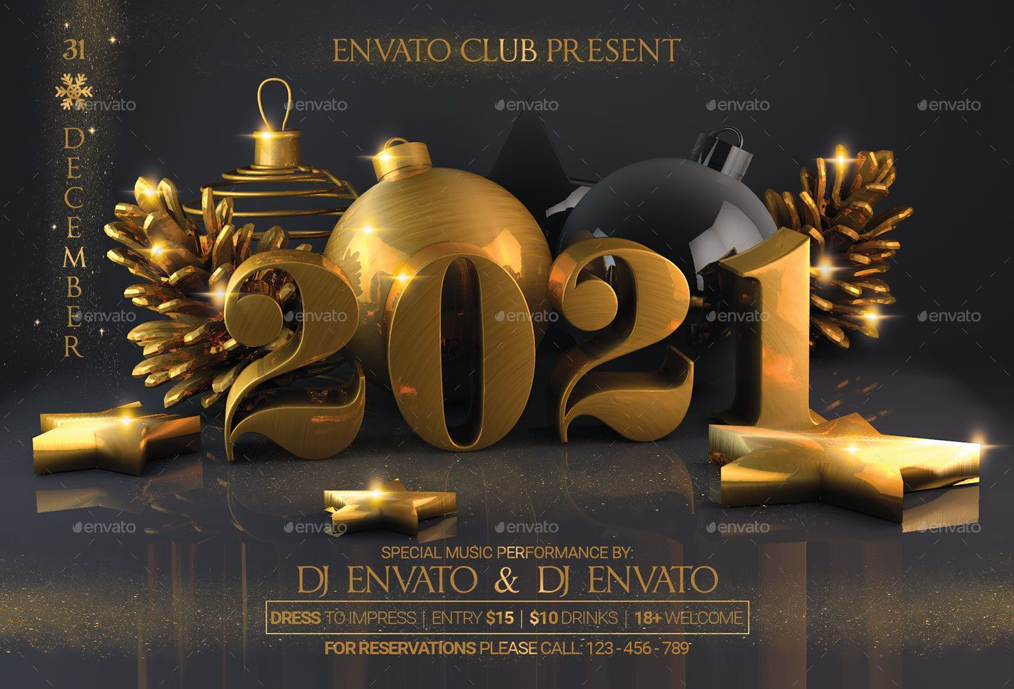 New Year Christmas Party Flyer Christmas, Year, Flyer