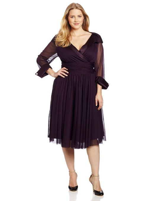 Plussizeformaldresseswithsleeves Tea Length Plus Size Dresses