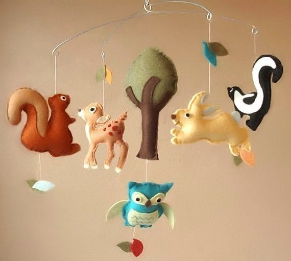Woodland Creatures Baby Mobile Deer Squirrel Rabbit Skunk Owl And Tree Custom Animals And Felt Colors Available Nature Themed Nursery Felt Baby Woodland Creatures
