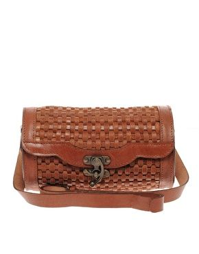 ASOS Leather Weave Barrel Hinge Lock $55.40