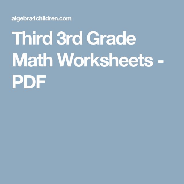 Third 3rd Grade Math Worksheets - PDF | Grayson\'s World | Pinterest ...