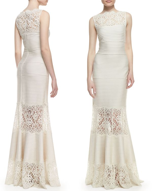 Tadashi Shoji Sleeveless Ribbed Knit and Lace Gown – In My Closet ...