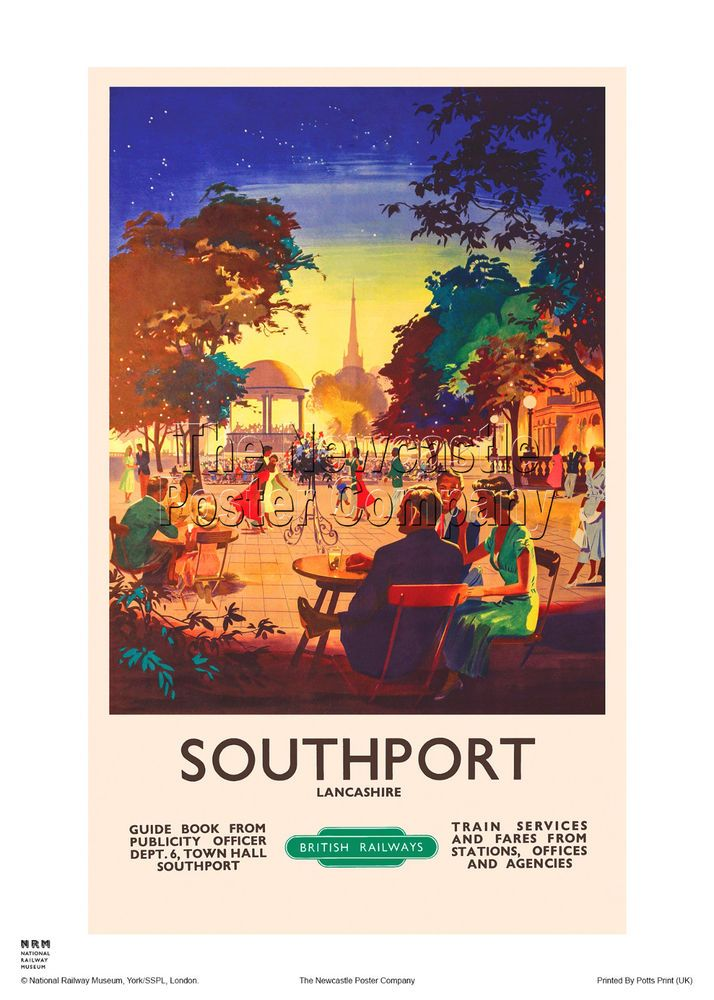 SOUTHPORT LANCASHIRE RETRO VINTAGE RAILWAY ADVERTISING TRAVEL POSTER ART PRINT