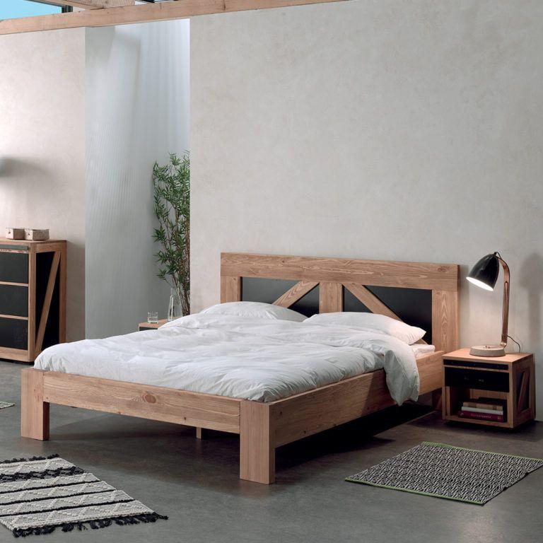 Decouvrez Nos Lits 2 Places En Bois Massif Inspiration Nordique Lit En Bois Moderne Lit 2 Places Mobilier De Salon
